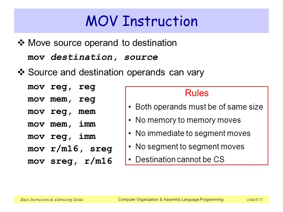 Solved: a mov assembly instruction copies the value of the.