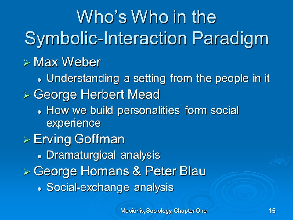 chapter one symbolic interactionism Chapter 1: most sociologists interpret social life from one of three major theoretical frameworks or theories (conflict theory, functionalism, and symbolic interactionism) choose a social issue or current event (eg, poverty, politics, gas prices, etc) and describe how you could analyze or explain the issue or event from each of the three.