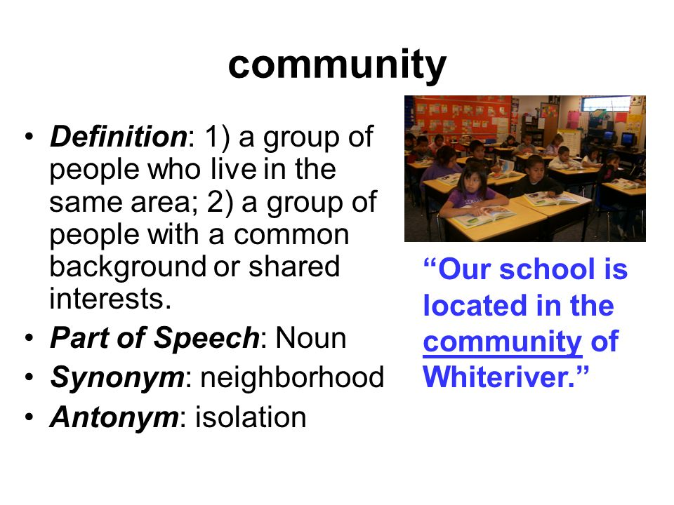 varying definitions of community essay 1 community, hamlet, village, town, city are terms for groups of people living in somewhat close association, and usually under common rules community is a general term, and town is often loosely applied.