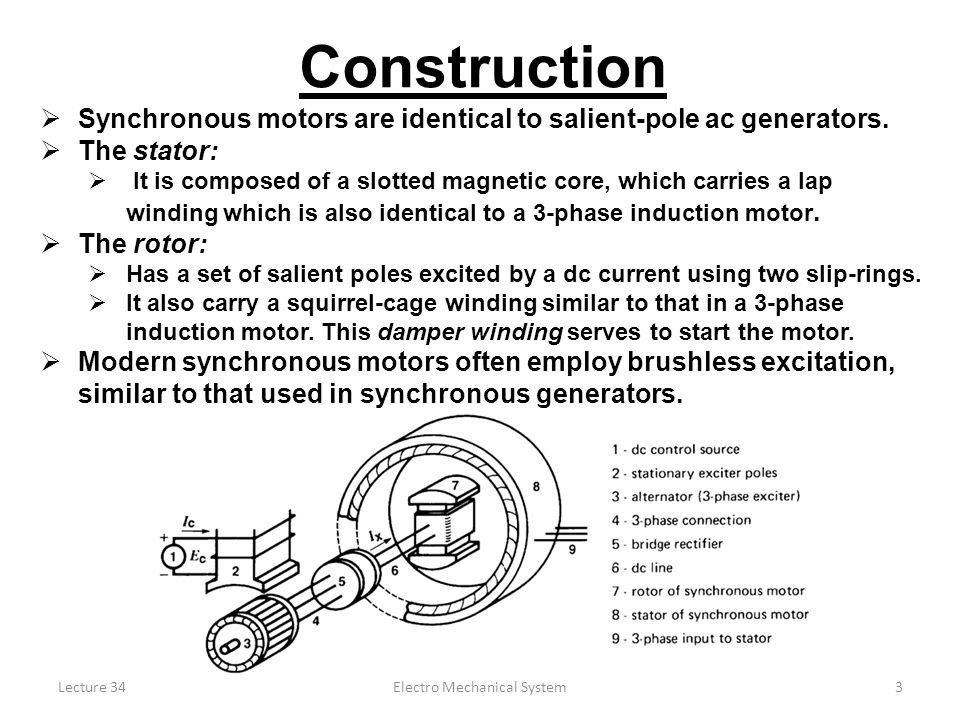 3 Electro Mechanical System Construction Synchronous motors ...