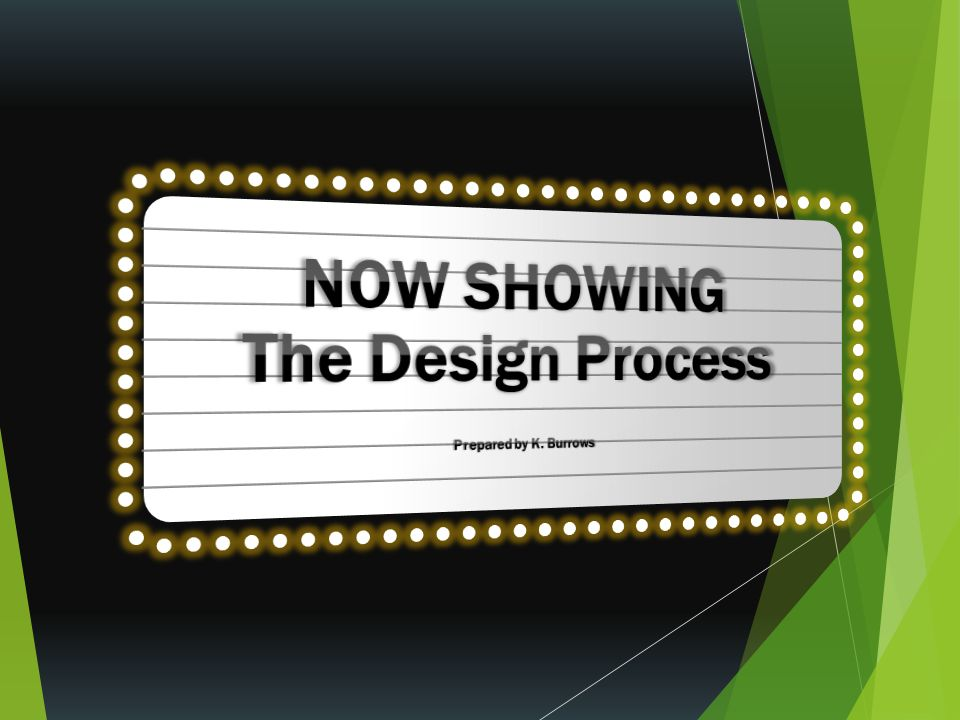 NOW SHOWING The Design Process