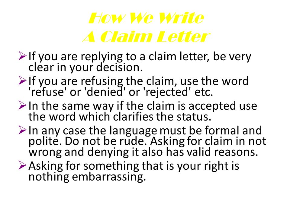 writing letters claim letters ppt download