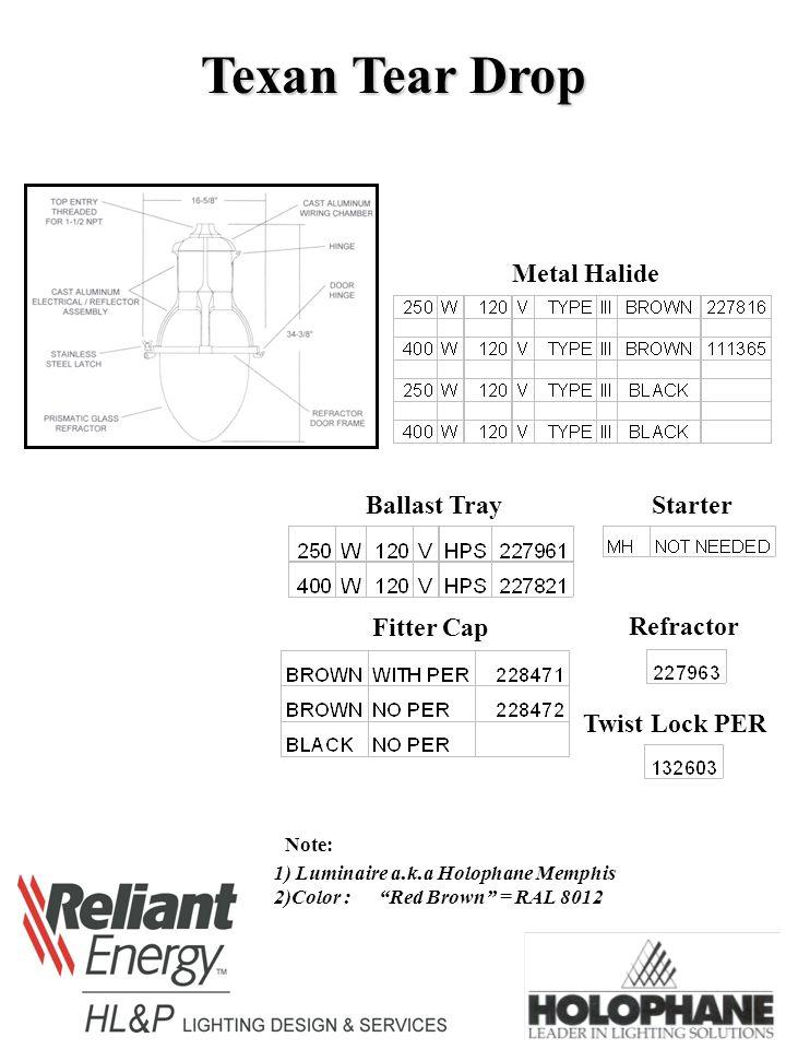 texan tear drop metal halide ballast tray starter fitter cap refractor