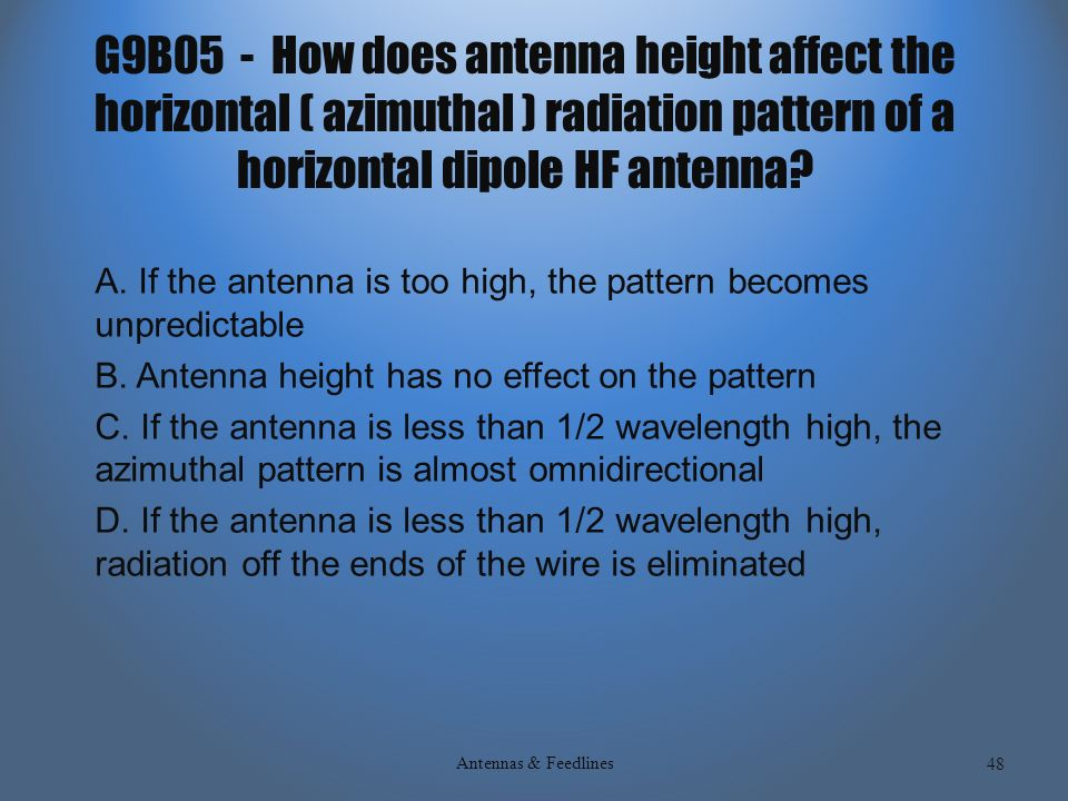 SUBELEMENT G9 ANTENNAS AND FEEDLINES [4 Exam Questions–4 Groups ...