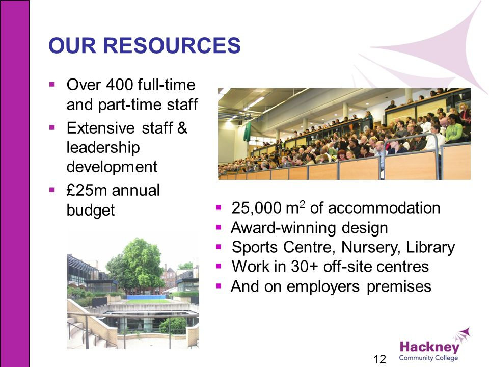 OUR RESOURCES Over 400 full-time and part-time staff