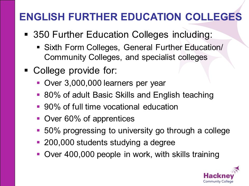 ENGLISH FURTHER EDUCATION COLLEGES