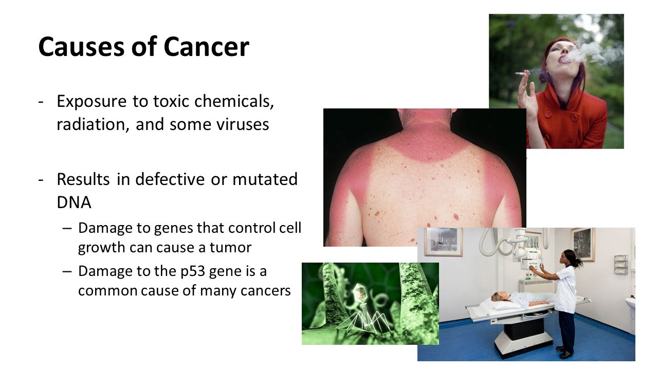 Causes of Cancer Exposure to toxic chemicals, radiation, and some viruses. Results in defective or mutated DNA.