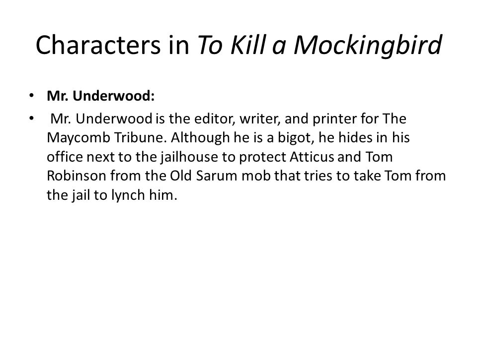 to what does mr underwood compare tom robinson