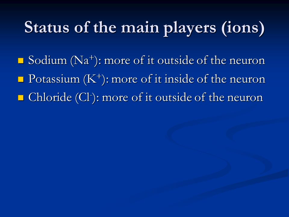 Status of the main players (ions)