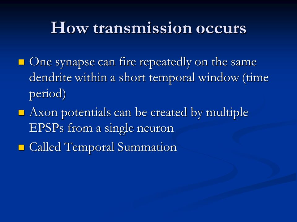 How transmission occurs
