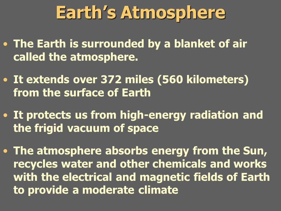 Earth's Atmosphere The Earth is surrounded by a blanket of air called the atmosphere.