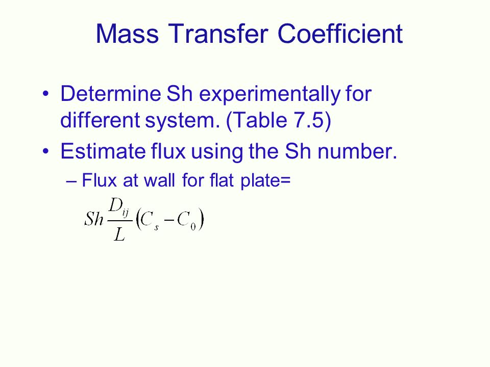 100+ For Mass Transfer Coefficient Boundary Layer Theory