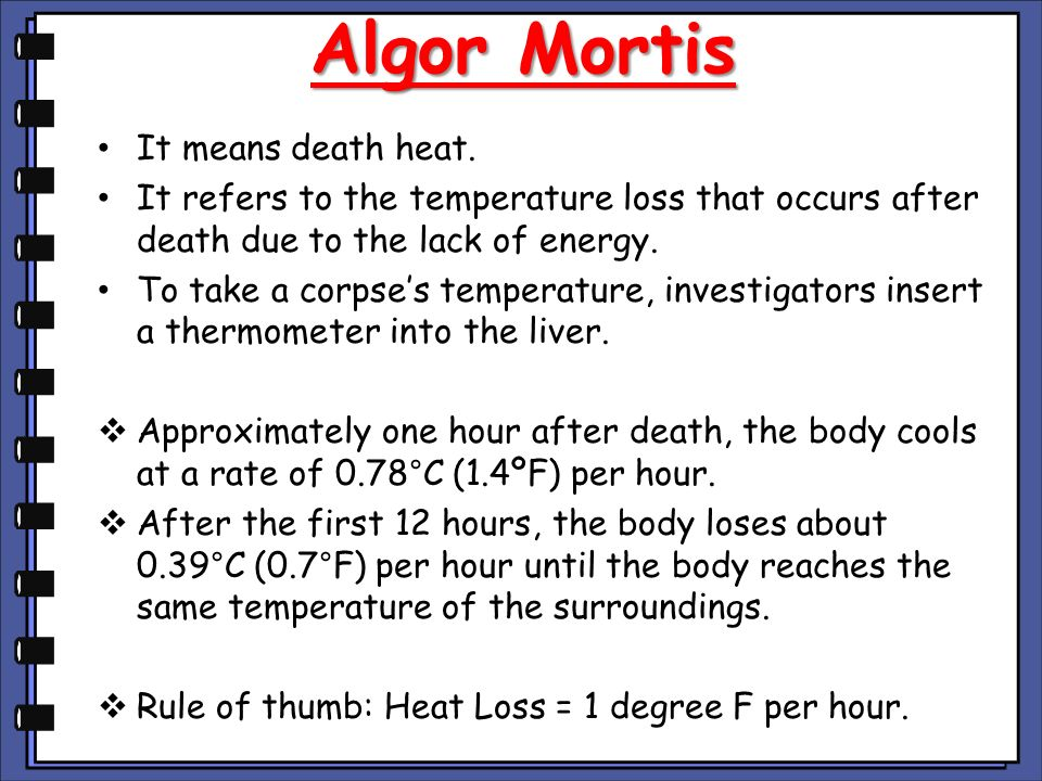 Algor Mortis It Means Heat