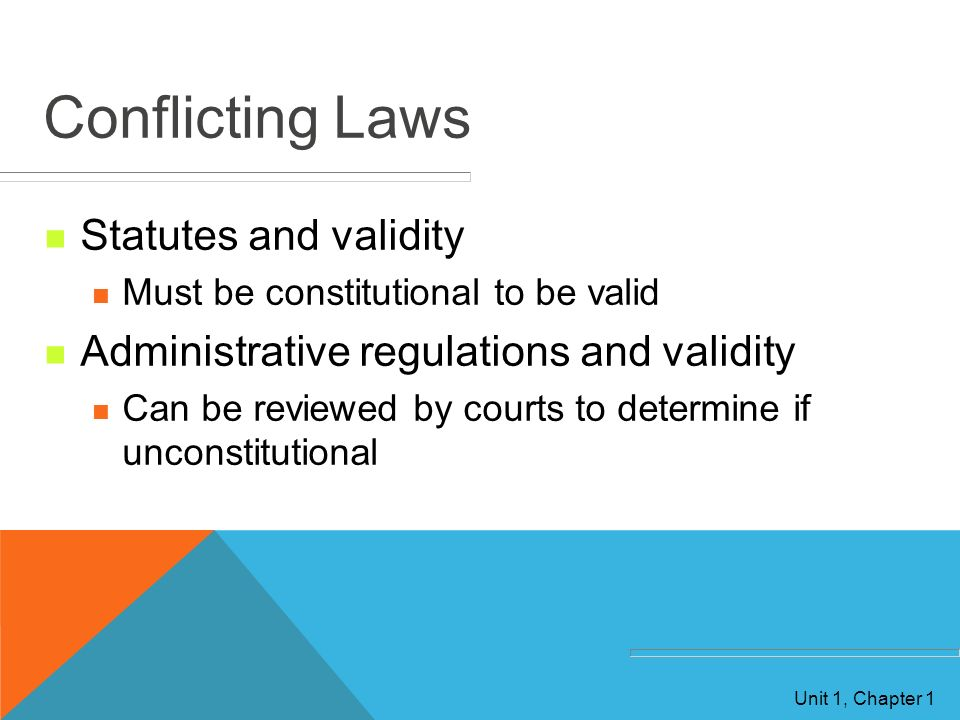 Conflicting Laws Statutes and validity