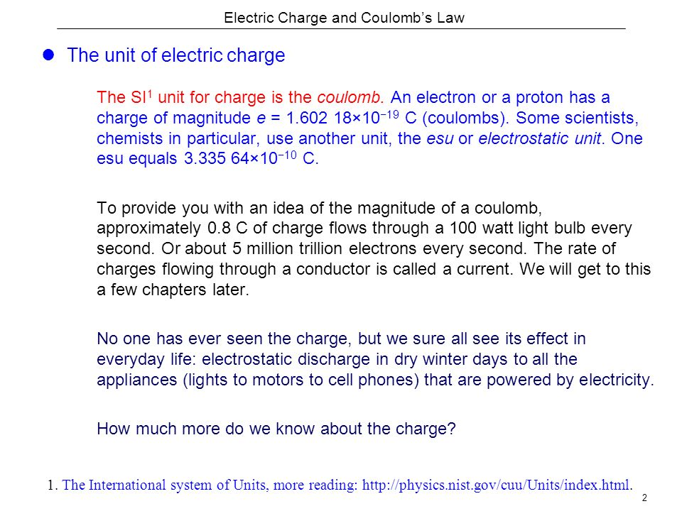 Electric Charge And Coulomb S Law