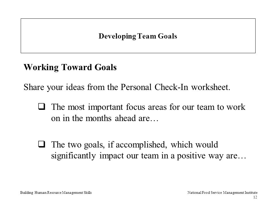 share your ideas from the personal check in worksheet
