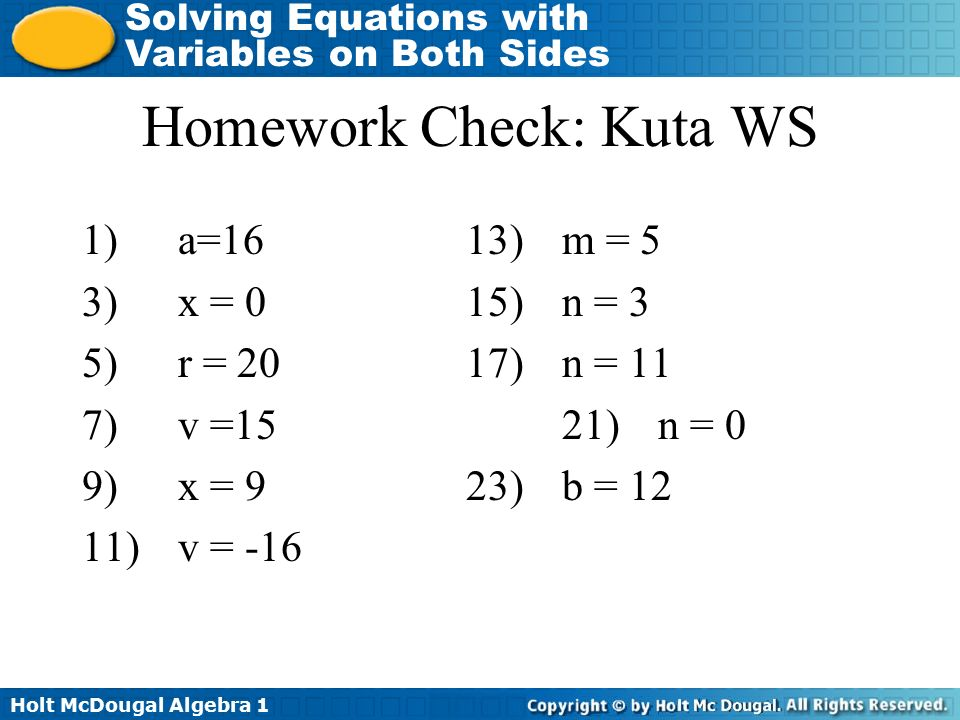 Homework Check: Kuta WS