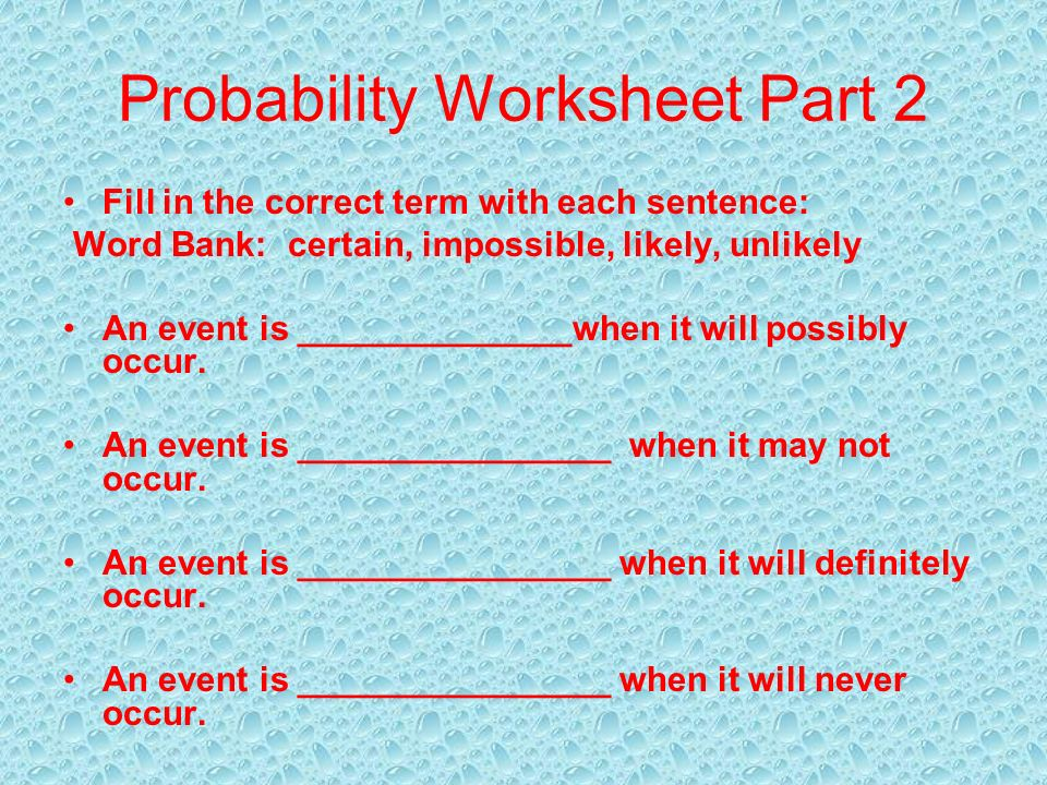 7th Grade Math Ms Welch Yates Mr Jackson Ppt Download. Probability Worksheet Part 2. Worksheet. Probability Worksheets 6th Grade At Clickcart.co