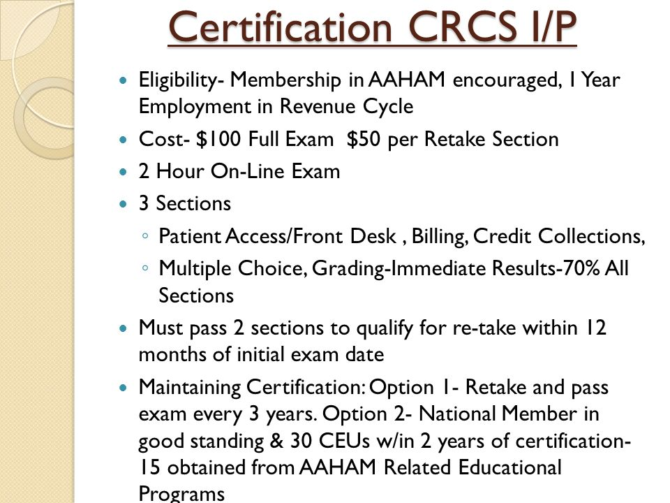 aaham certification programs ppt video online download rh slideplayer com crcs-p study guide Study Guide Template