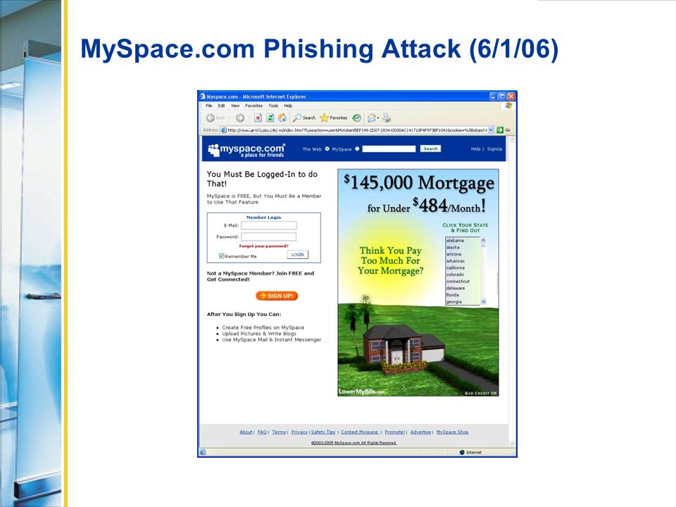 MySpace.com Phishing Attack (6/1/06)