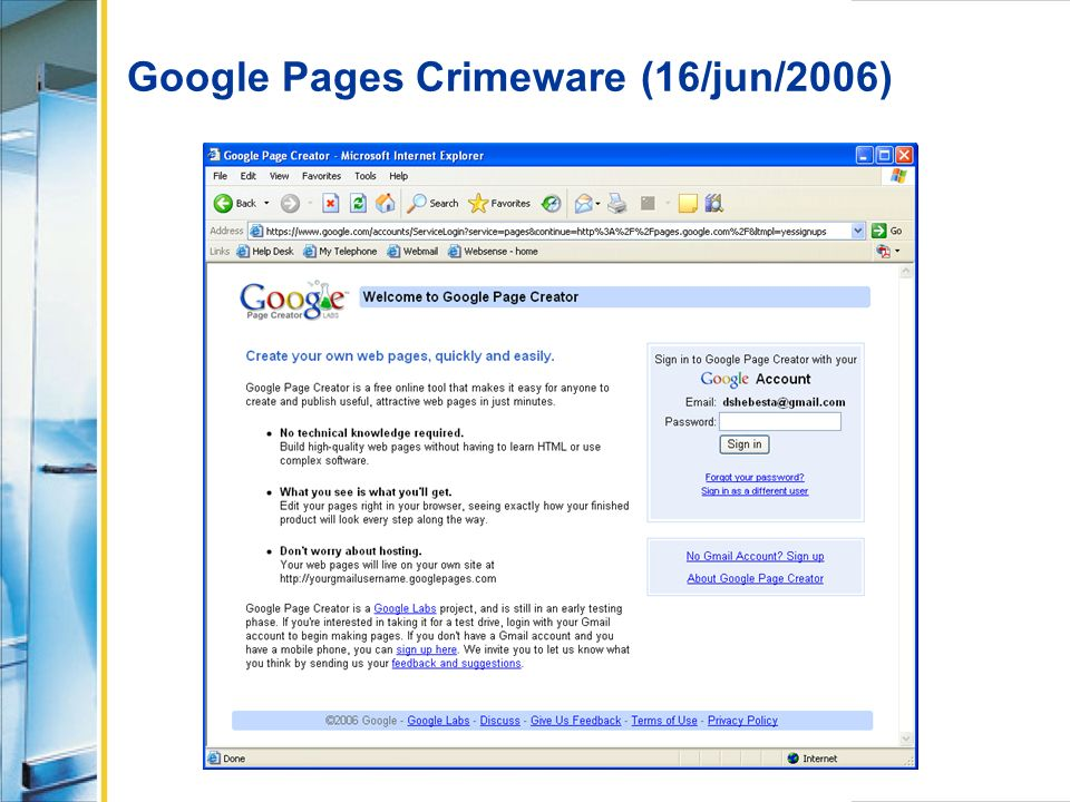 Google Pages Crimeware (16/jun/2006)