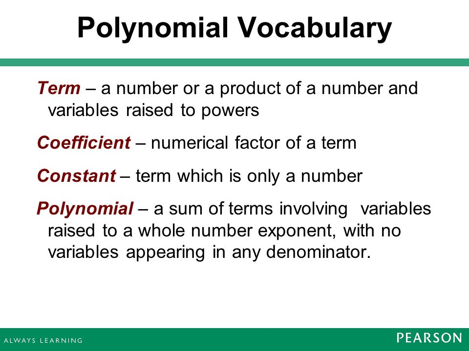 polynomials and polynomial functions ppt download