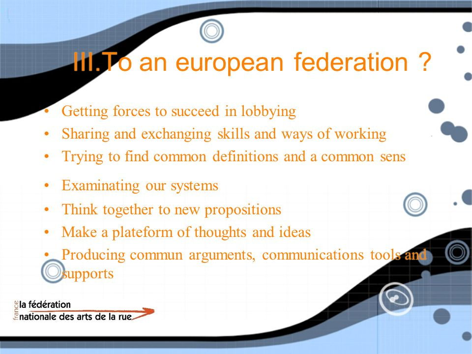 III.To an european federation