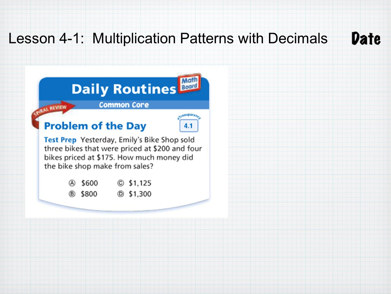Multiplication Patterns With Decimals Lesson 41 Answer Key Custom Decorating Ideas