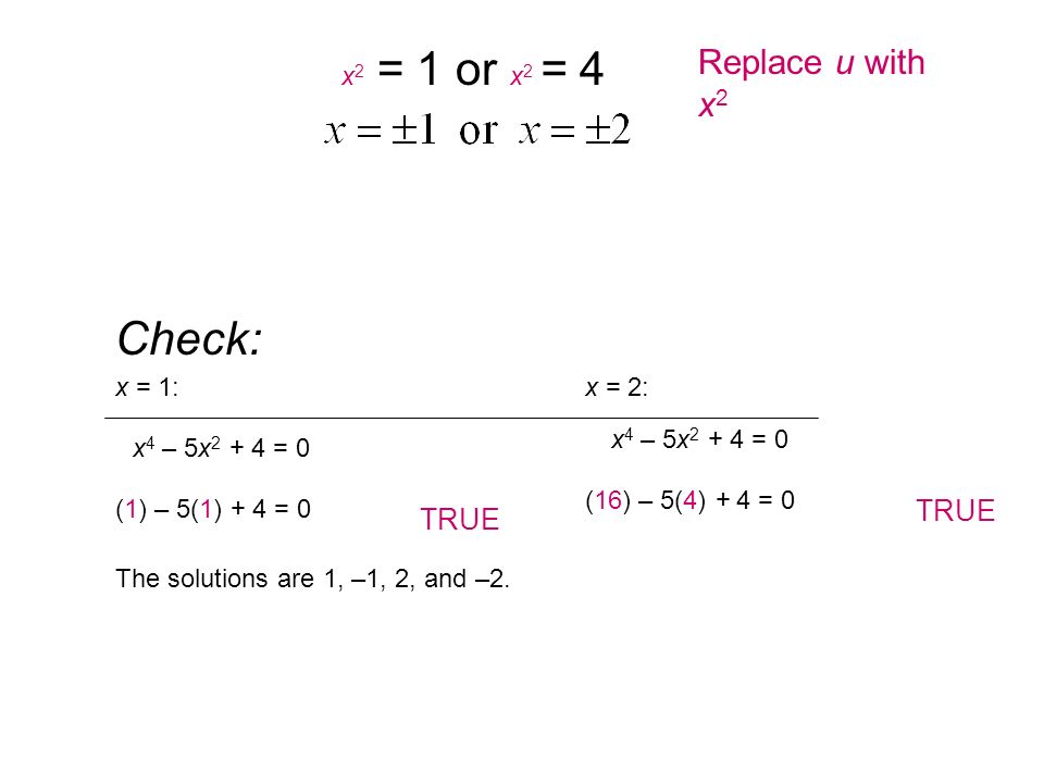 Check: Replace u with x2 TRUE TRUE x2 = 1 or x2 = 4 x = 1: x = 2: