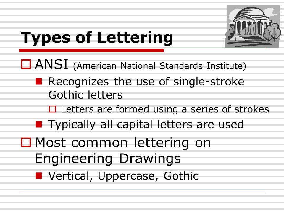 Types Of Lettering ANSI American National Standards Institute