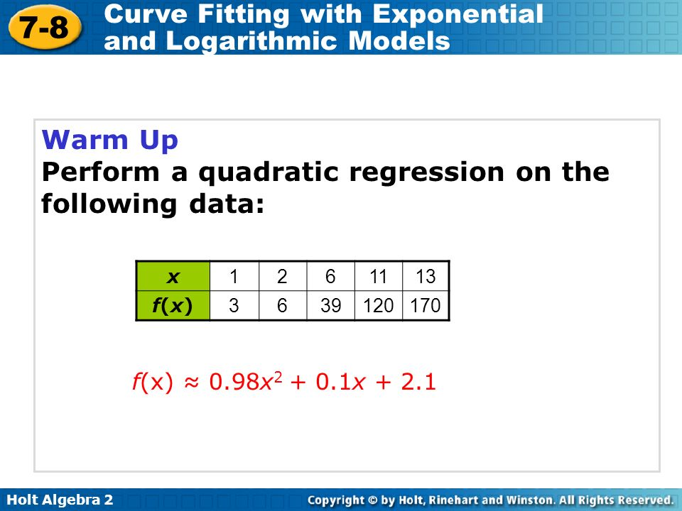 7-8 Curve Fitting with Exponential and Logarithmic Models