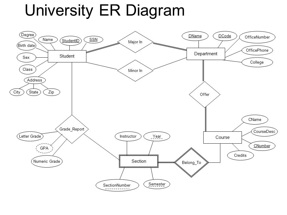 College Department Er Diagram Data Wiring Diagrams