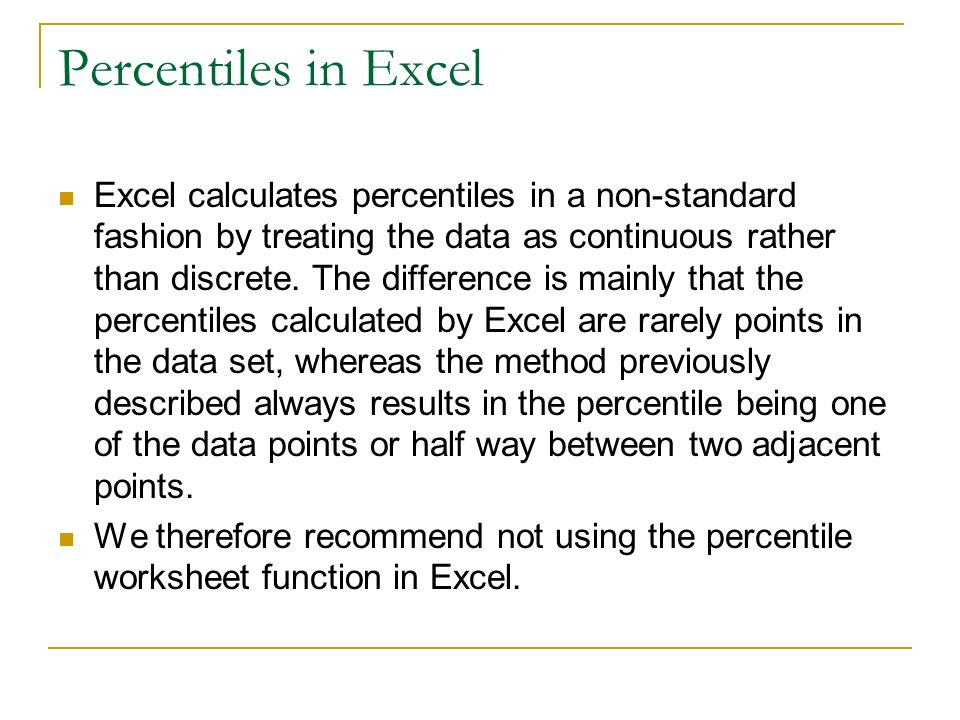 how to find the percentiles of a data set