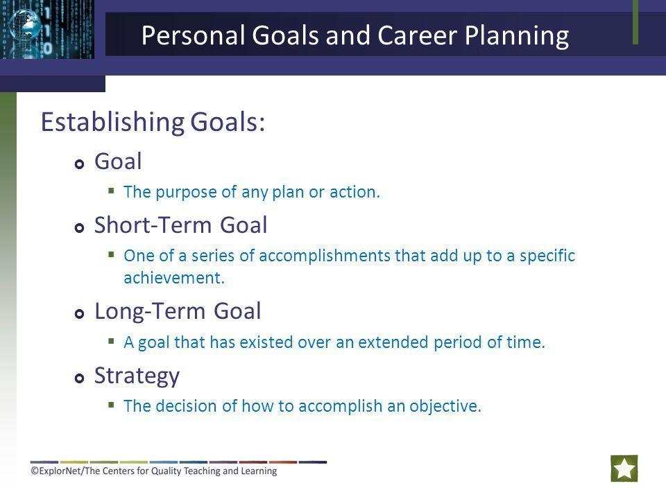 Personal Goals And Career Planning Ppt Video Online Download