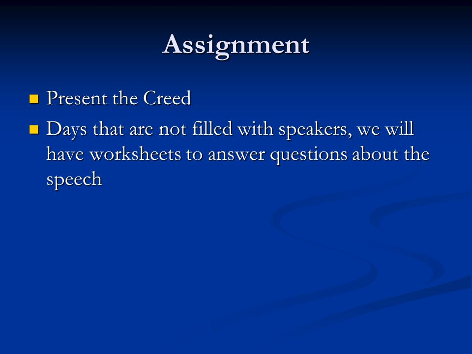 Assignment Present the Creed