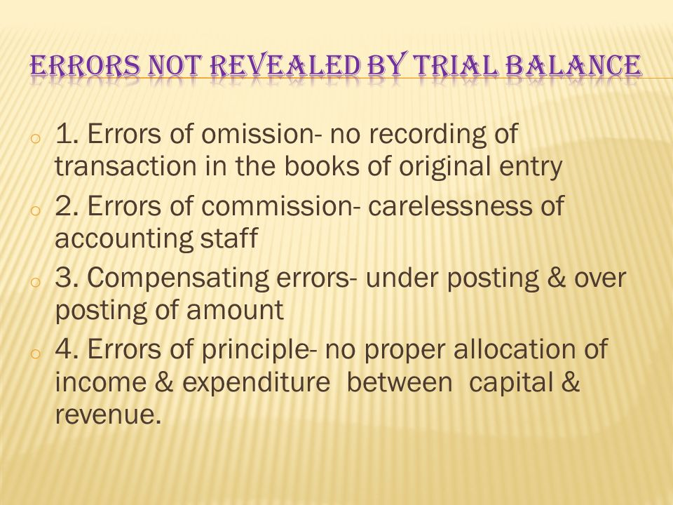 Errors not revealed by trial balance