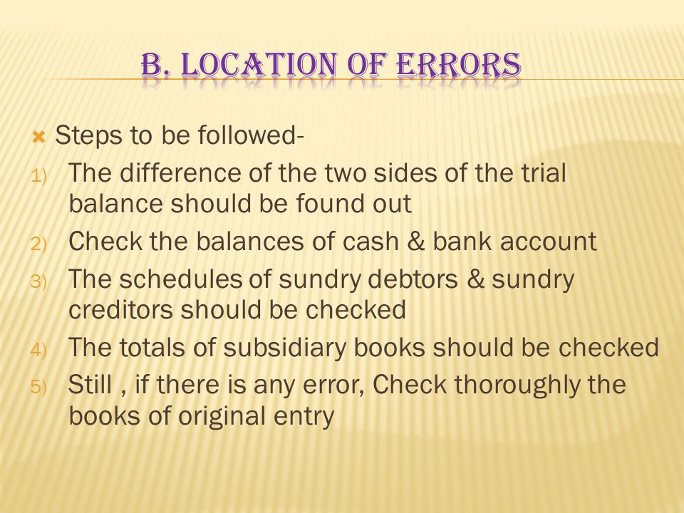 b. Location of errors Steps to be followed-