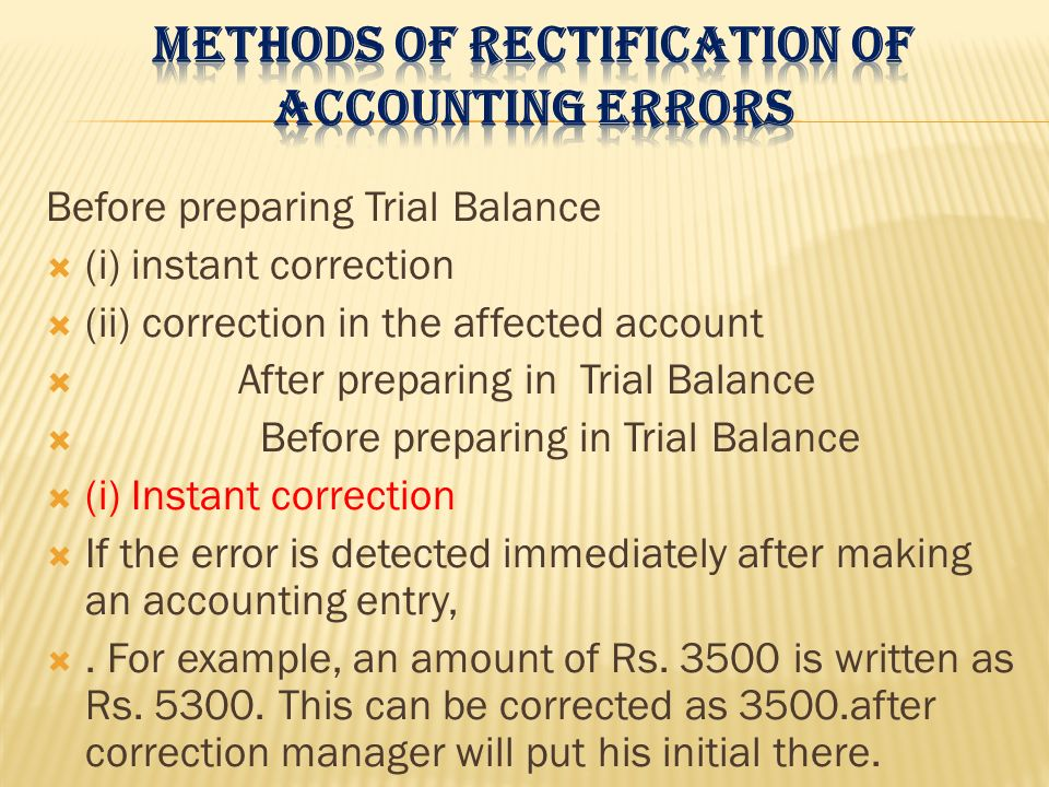 Methods of rectification of accounting errors