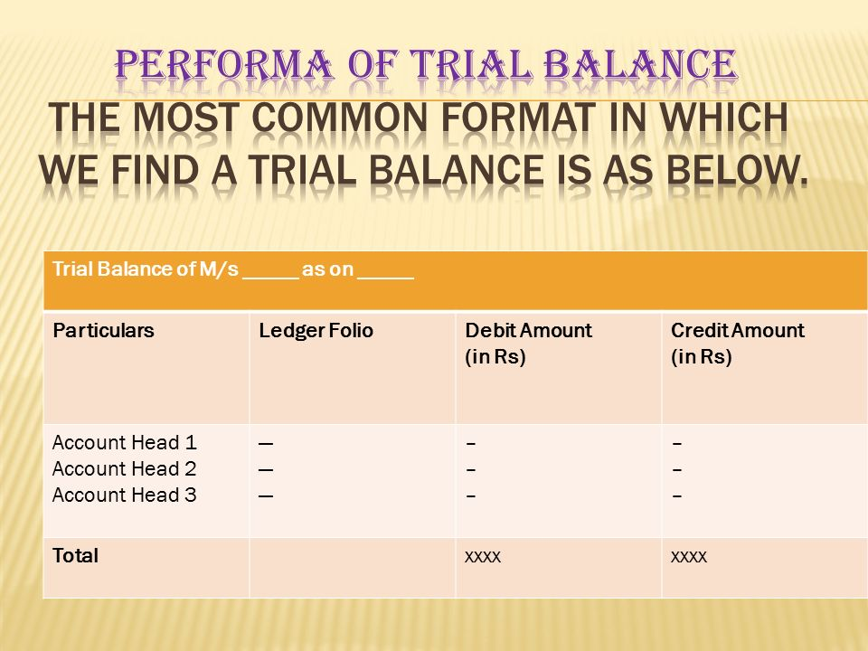 Performa of trial balance The most common format in which we find a trial balance is as below.