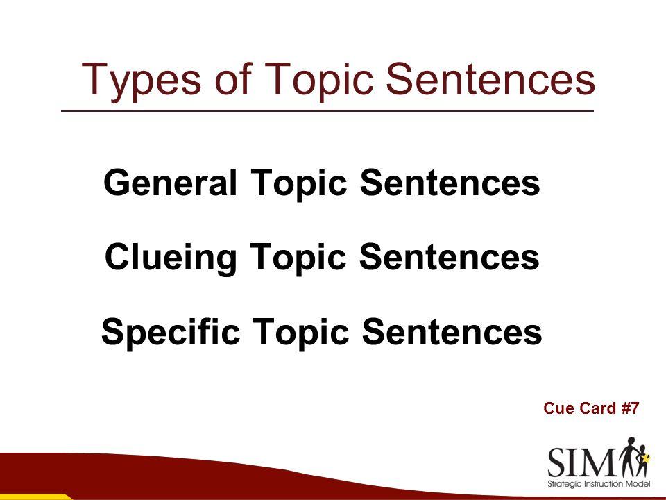 types of topic sentences