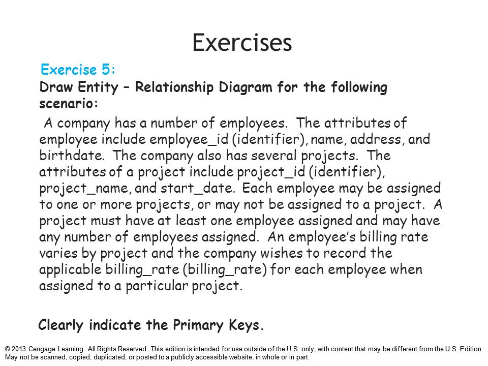 Chapter 7 data modeling with entity relationship diagrams ppt relationship diagram for the following scenario 35 exercises ccuart Gallery