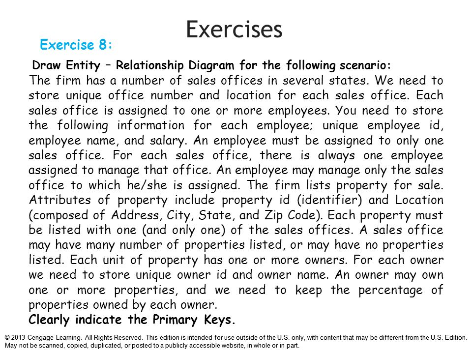 Chapter 7 data modeling with entity relationship diagrams ppt exercises exercise 8 draw entity relationship diagram for the following scenario ccuart Choice Image
