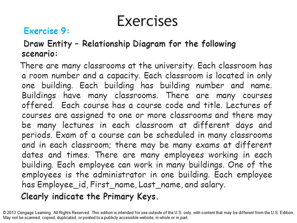 Chapter 7 data modeling with entity relationship diagrams ppt relationship diagram for the following scenario 39 exercises ccuart Gallery
