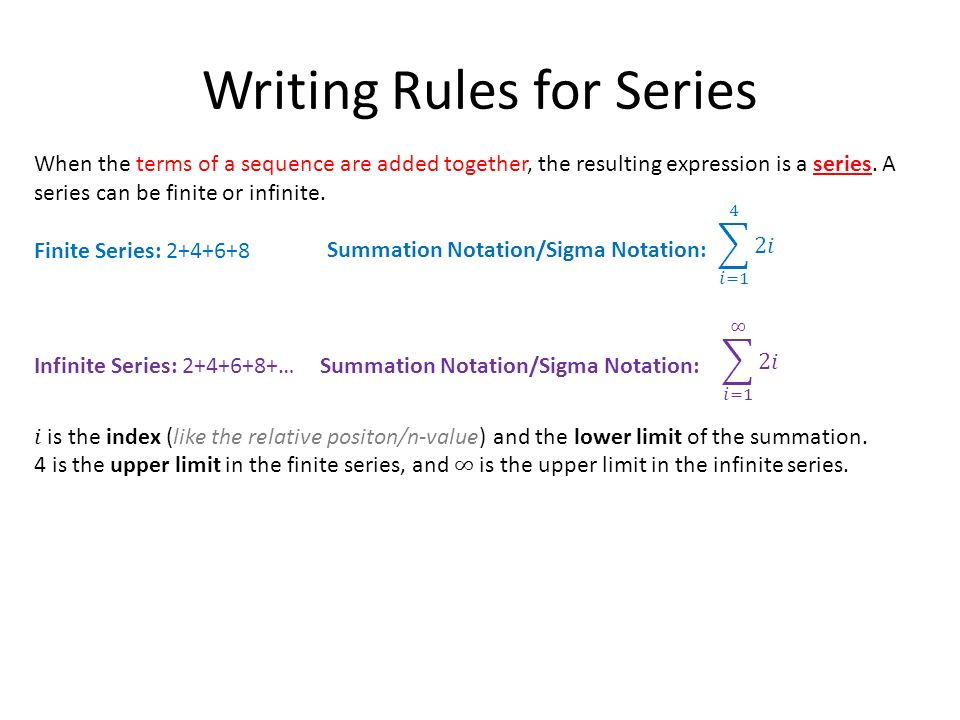 Defining and Using Sequences and Series - ppt download