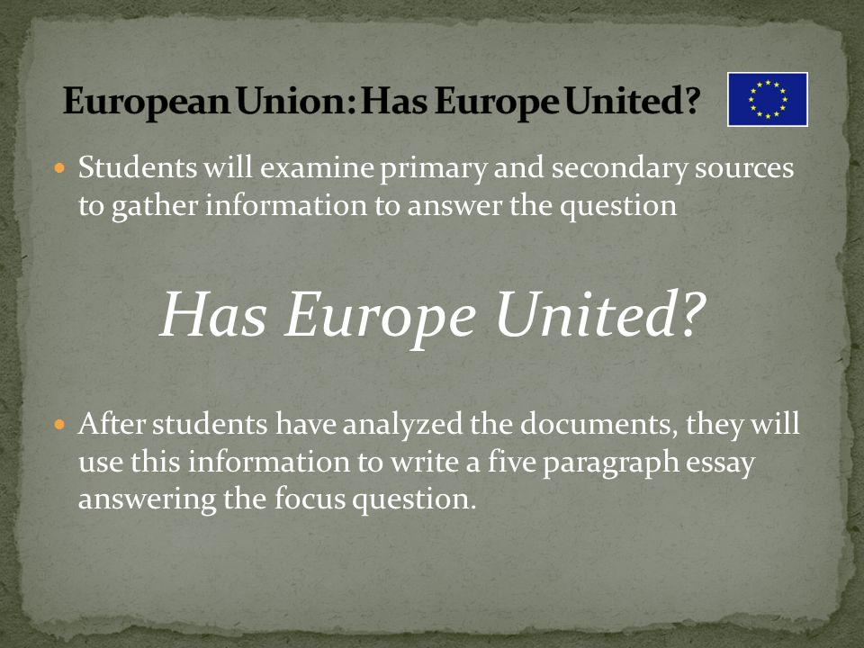 Essay Writing On Newspaper  European  English Essay Writer also Business Management Essay Topics European Union Has Europe United Minidbq  Ppt Video Online Download Learning English Essay Example