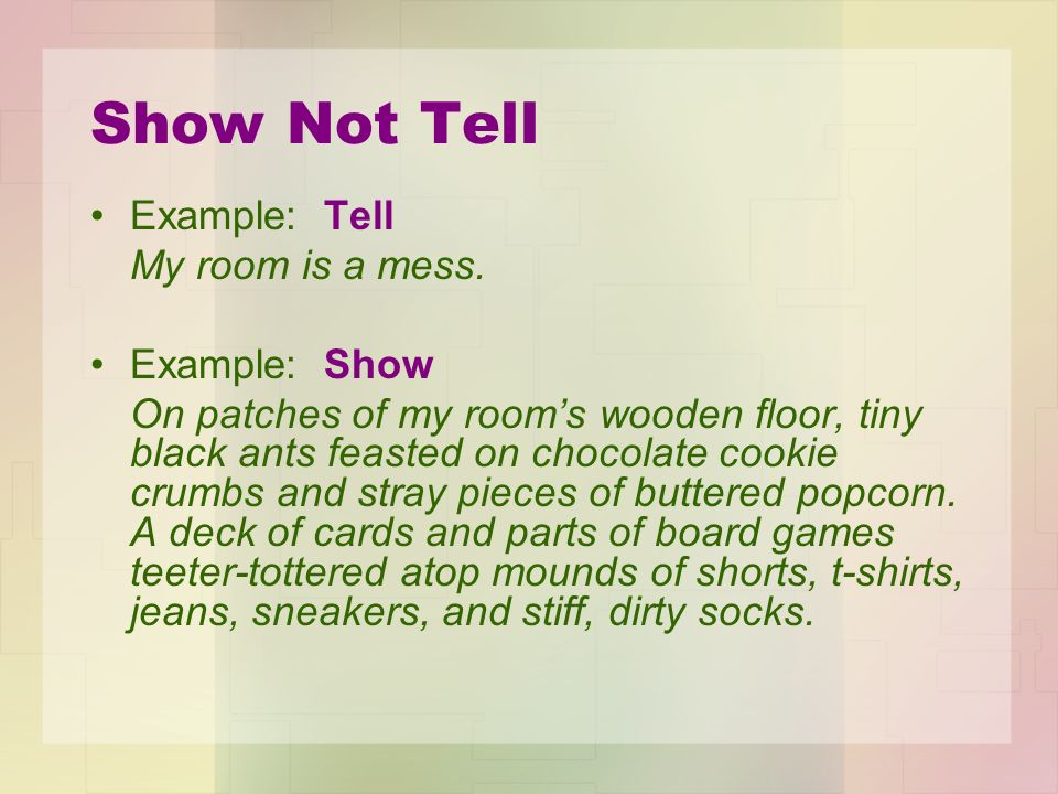 how to show not tell examples