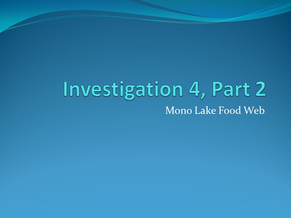 Investigation 4, Part 2 Mono Lake Food Web  - ppt download