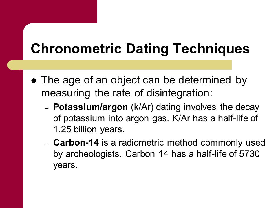 Chronometric dating techniques based