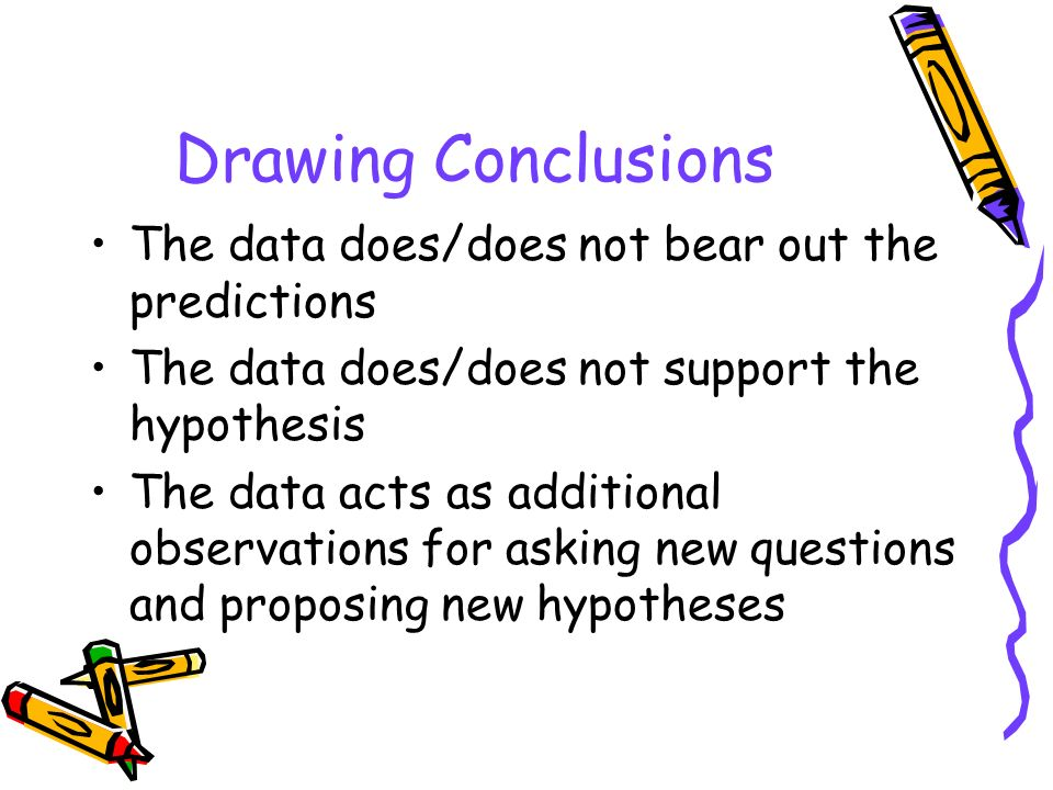 Drawing Conclusions The data does/does not bear out the predictions