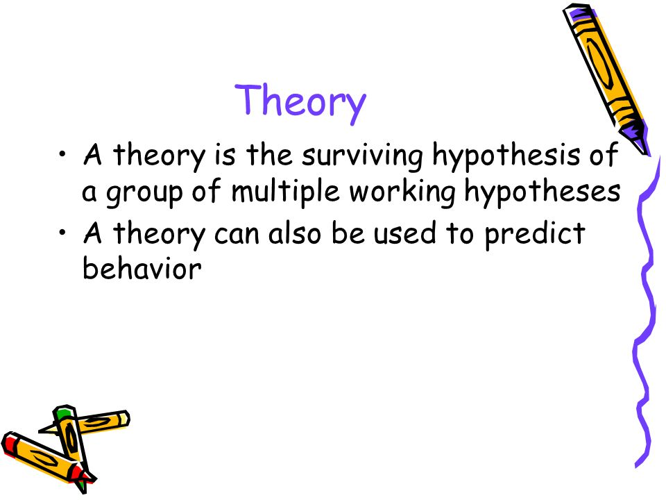 Theory A theory is the surviving hypothesis of a group of multiple working hypotheses.